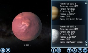 Looking at an icy world with detailed planets option enabled
