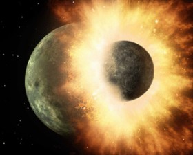 An artists impression of a enormous object or asteroid hitting Earth, creating the moon