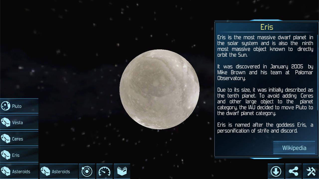 Solar Explorer 2.6.25: dwarf planet Eris