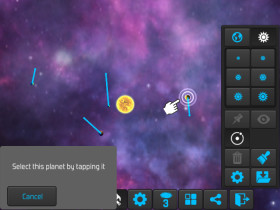 The tutorial asking the user to tap the planet